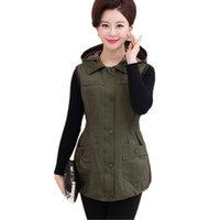 chaleco ejército verde mujer al por mayor-100% algodón de gran tamaño de las mujeres verdes del ejército del chaleco color caqui Chaleco para las mujeres chaqueta con capucha de la madre chalecos tamaño grande de la capa femenina del chaleco