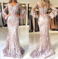 Wholesale Sexy V Neck Lace Mermaid Long Prom Dresses Long Sleeves Tulle Applique Sweep Train Formal Party Evening Gowns With Buttons