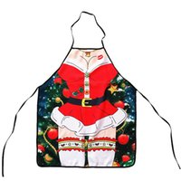 Wholesale new design aprons resale online - Cute Christmas Apron Cartoon Santa Claus Deers Design Pinafore For Male Female Adult Home Decoration New Year Gifts