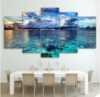 Wholesale sea wall art panels resale online - Canvas HD Modern Wall Art Home Decoration Living Room Panel Blue sky and sea Print Painting Modular Pictures Poster