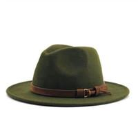 geniş ağızlı panama şapkası toptan satış-2019 Kadın Erkek Yün Fötr Şapka Ile Deri Şerit Beyefendi Zarif Lady Kış Sonbahar Geniş Ağız Caz Şapka Kilise Panama Sombrero Kap