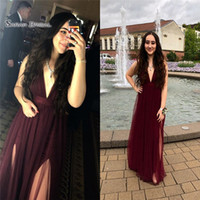 Wholesale vintage maternity wedding dresses online - 2019 V neck Tulle Prom Dress Floor Length With High Split High end Customed Vestidos De Novia Party Gown