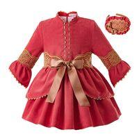 bebek kızı elbise kırmızı toptan satış-Pettigirl Kırmızı Dantel Bebek Kız Elbise Standı Yaka Çocuklar Noel Elbiseler Butik Kız Giyim Ile Şapkalar G-DMGD106-B349