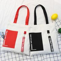 kore çantası tote toptan satış-Puslu Güzellik Siyah Kırmızı Kurdele Alışveriş Eko Çanta Kadın Casual Okul Kitap Tuval Çanta Kore Preppy Tek Omuz Patchwork Totes