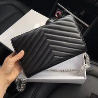 metal chain großhandel-Designer-Handtaschen Schaffell-Kaviar-Metallkette goldsilber Designer-Handtasche aus echtem Leder Flip-Cover diagonal Umhängetaschen mit BOX