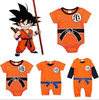 Wholesale goku clothes online - Baby Dragon Ball Clothes r Newborn SON Dragon Ball Cosplay Costume GOKU Toddler Romper Bodysuit Outfits KKA6484