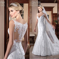 Wholesale vestidos novia mermaid wedding gowns for sale - Group buy 2019 Vestidos de novia Mermaid Wedding Dresses Lace Appliques V Neck Wedding Gowns Vintage Church Bridal Dresses BA9489