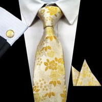ingrosso legami floreali blu-Uomo floreale 100% seta jacquard cravatta fiore a righe verde blu moda formale elegante cravatta cravatta cravatta Gravata Hanky gemelli