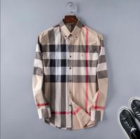 camisas de calidad para hombre de negocios al por mayor-Venta al por mayor 2019 Nueva Marca Primavera Otoño Casual Hombres Camisa de manga larga de algodón de alta calidad formal de negocios Plaid Mens Dress Shirts Plus Size30