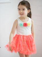kostüm elbiseleri toptan satış-Toptan 2018 parti elbise kız giyim yaz yeni çocuk kız dantel yelek tutu fasion prenses w095666