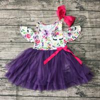 sevimli mor tutu elbisesi toptan satış-Yeni gelenler Yaz elbise çiçek unicorn mor elbise süper sevimli renkli kapalı omuz tutu maç yay diz boyu