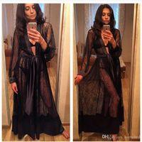 malhas longas venda por atacado-Lady Mulheres Lace Sexy Lingerie Camisola Pijamas Roupões de Banho Vestido Longo Kimono Malha Sheer See-through Robe Nightwear