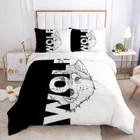 Wholesale wolf duvet covers resale online - 3D Bedding Set Europe Single Duvet Cover Set Comforter Case Pillowcases Nordic Bed Black and white wolf