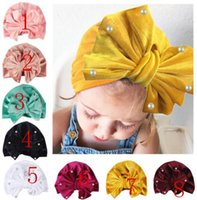 Wholesale Baby Bow Pearl Hat Girls Boys Cap Bohemian Style Kids Hats Newborn Colors Caps Photography Props Accessories