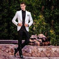 erkek italyanca uyma takımları toptan satış-İtalyan Beyaz Erkekler Düğün Smokin Düğün Damat Suits Suits Erkekler Blazers Sabah Parti Slim Fit Damat Giyim 3 Adet Siyah Kostüm Homme