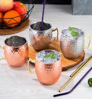 Wholesale iced tea drinks resale online - Moscow Mule Mug Stainless Steel Hammered Copper Mug for Beer Ice Coffee Tea Plating Hammered Drum Cocktail Drink Cups KKA1642