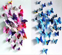 kız kelebek duvar çıkartmaları toptan satış-12 Adet / grup 3D duvar dekorasyon yaratıcı kelebek Mıknatıs çıkartmalar çocuk kız odası dekorasyon sıcak satış çocuk odası çıkartmaları