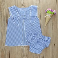 Wholesale baby lace set for sale - Group buy Baby Vest Shorts Suit Baby Boy Girls Striped Lace Vest Tops Kids Designer Clothing PP Shorts Infant Outfits Toddler Girls Clothing Set