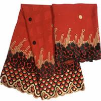 bordado suizo al por mayor-100% algodón Bordado en dos colores patrón misterioso 7 yardas Swiss Voile Lace KYS3 gran tela de encaje de algodón de alta calidad