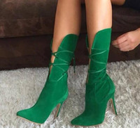 Wholesale green stiletto boots resale online - 2019 new Women ankle booties Green Stilettos Mid Calf Boots Suede Cutouts High Heels Shoes Women Cross tied Pointed Toe Gladiator Boots