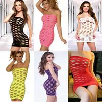 büyük kadınlar seksi iç çamaşırı toptan satış-Tasarımcı Lingerie Seksi Babydoll Büyük Örgü İç Sıkı Tulum Gece Giyim Tulum Kadınlar için Kadın 6 Renk