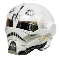 Wholesale ironman helmet resale online - MASEI IRONMAN motorcycle helmet Planet Theme Casque motocross half helmet Personality open face Cycle White
