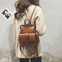 Wholesale women small back packs resale online - Leftside Brand Retro Hasp Back Pack Bags Pu Leather Backpack Women School Bags For Teenagers Girls Luxury Small Backpacks MX190817