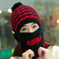 Wholesale red cycling sets resale online - hat scarf mask sets female winter knitted hat knitted autumn and winter thermal masks cap plus velvet cycling cap ear