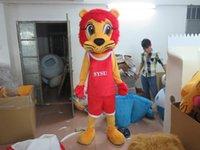 traje de león amarillo al por mayor-Tamaño adulto Lindo Amarillo León Mascota Costume Basket Ball Lion Costume Navidad Fiesta de Cumpleaños Vestido de lujo Envío Gratis