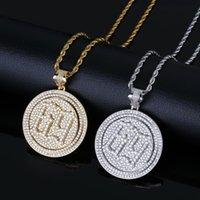 collar de oro círculo de calidad colgante al por mayor-Collar de Hip Hop Joyería de Lujo Exquisito 18 K Chapado en oro Spin Circle Colgante Collar Grado Calidad Circón Seis Nueve Collar LN039