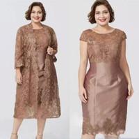 kahverengi kısa ceket toptan satış-Chic ile kahverengi kısa kollu kılıf anneler elbiseler tam dantel ceket zarif çay boyu anne gelin elbise custom made bc0279