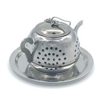 en forma de tetera al por mayor-Redondo Pot Teas Colador de acero inoxidable Té Infusor Tetera Forma Plateado Con Cadena Hogar Vida Suministros Chasis Creative 5xzC1