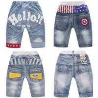 buracos de jeans de menino venda por atacado-Baby Boy Shorts Jeans Infantil Bebé da criança que Carta Buraco Jeans Verão Elastic estrelas listradas Bolso Shorts Pants 3-10T 04