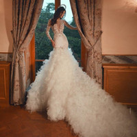 Wholesale luxury wedding dresses long train for sale - Group buy 2020 Luxury Mermaid Wedding Dresses Sheer Jewel Neck Long Sleeves Bridal Gowns Puffy Ruffles Lace Backless See Through robes de mariée