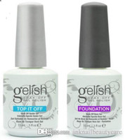 base superior de esmalte de uñas gelish al por mayor-Armonía Gelish de calidad superior Remoje el gel de uñas Esmalte de uñas Gel de arte Laca Led / uv Base Coat Foundation Top coat