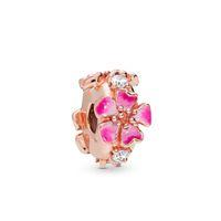 серебряная защита оптовых-Kristie 100% 925 Sterling Silver New 2019 Spring 798112 Nccmx Romantic Peach Gold Pink Clip Charm Fit Diy Bracelet Security