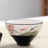 presente da bacia de peixes venda por atacado-Pintado porcelana Peixe Cup Mão Cerimônia criativo mestre Teacups Início Copos Hat Cups Escritório Tea presente Bowls Tea