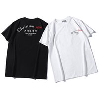 ingrosso camicie maniche-Mens Designer Brand Summer T Shirt Luxury Mens Loose Tees Lettere Stampa 19ss Short Sleeves Top Sell Luxury Mens T Shirt Taglia S-2XL