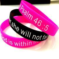 bilezik tanrısı toptan satış-Toptan 25 Adet mezmur 46: 5 Namaz Tanrı hıristiyan silikon silikon bilekliği bilezikler mix renkler Ayet Band Hediyeler