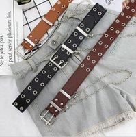 ingrosso cinture di ferro signore-Cintura da donna hip hop ampia cintura in ferro con catena ad anello doppia fila di occhielli a vapore cintura decorativa per studenti