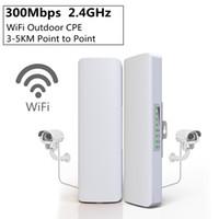 ingrosso punti di accesso-2 pz / lotto 300 Mbps 2.4 Ghz Mini Bridge Wireless WIFI CPE Access Point WIFI Dual 2 * 14dBi WI-FI Antenna WIFI Bridge Bridge HHA102