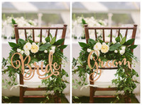 zeichen fotos großhandel-Umweltfreundlich Braut und Bräutigam Stuhl Schilder, ländliche Hochzeit Stuhl aus Holz Schild, Holzschilder, Foto Requisiten, Wedding Dekoration, 2pcs / Lot