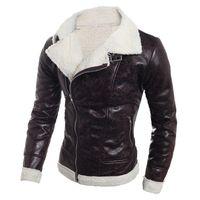 braune leder schaffelljacke großhandel-Herren Lederjacke Warm Lammfell-Mantel-Pelz-Liner-Revers-Leder Reißverschluss Schwarz Braun Outwear Herbst-Winter-Top Coats