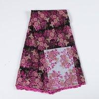 flores de tecido africano venda por atacado-Atacado africano 3d flor do laço de tecido bordado tule tecido líquido rendas tecido de renda tecido bonito para bf0041 partido