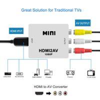 mini hdmi vga ses toptan satış-1080 P HDMI Mini VGA RCA AV Kompozit Adaptörü Dönüştürücü 3.5mm Ses ile VGA2AV / CVBS + Ses PC HDTV Dönüştürücü