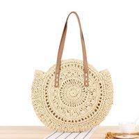 ingrosso nuove borse a crochet-La borsa all'ingrosso delle donne della fabbrica di estate nuova borsa di paglia circolare semplice borsa a tracolla delle donne tessuta a mano borsa dolce all'uncinetto della spiaggia cava dolce