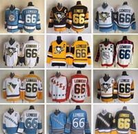mario lemieux yellow jersey оптовых-2018 Дешевые винтажные хоккейные майки Ice 66 Mario Lemieux Золото Желтый Черный Белый Хоккей Трикотажные изделия сшиты