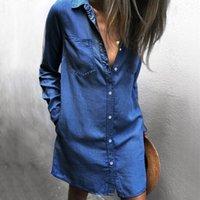 robe bleue à manches longues achat en gros de-Femmes Denim Blue Shirt Dress Printemps Automne Simple Poitrine Vestidoes À Manches Longues Robes Décontractées