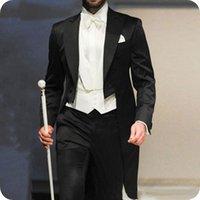 trajes de etiqueta negro esmoquin al por mayor-Italia Negro Tailcoat larga de los hombres de la chaqueta de los trajes del novio para la boda del partido de la mañana Tuxedo mejor hombre Blazers 3Piece trajes de hombre Terno Masculino