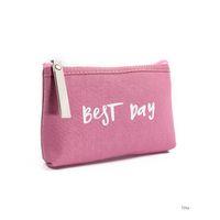bonito carta sacos de cosméticos venda por atacado-Ladies'cosmetic Bag Best Day Letter Inglês composição Bolsas e malas Saco de composição bonito